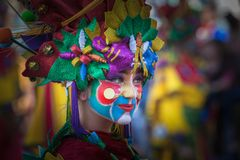 Portrait in Carnival. Badajoz, Spain - March 2, 2019: Performers with costumes inspired in fantasy take part in the Carnival parade of comparsas at Badajoz City stock photography
