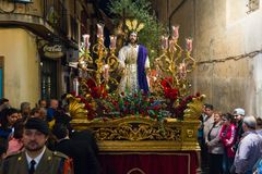 Badajoz Spain monday. april .10. 2017 Brotherhood and Brotherhoo. Badajoz Spain monday. april 10 2017 Brotherhood and Brotherhood of Our Father Jesus of Humility Stock Photo