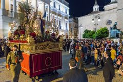 Badajoz Spain monday. april .10. 2017 Brotherhood and Brotherhoo. D of Our Father Jesus of Humility, Our Father Jesus of the Prendimiento and Maria Santísima de Royalty Free Stock Photo