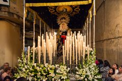Badajoz Spain monday. april .10. 2017 Brotherhood and Brotherhoo. D of Our Father Jesus of Humility, Our Father Jesus of the Prendimiento and Maria Santísima de Royalty Free Stock Photos