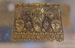 La Martela Hoard golden plates dated at 2nd Iron Ages. Badajoz, Spain - November 21, 2017: La Martela Hoard golden plate dated at 2nd Iron Ages. Badajoz royalty free stock images