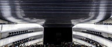 Panorama interior of auditorium. Manuel Rojas Congress Center, B. Badajoz, Spain - October 22, 2017: Congress Center Manuel Rojas, designed by Jose Selgas and Royalty Free Stock Photography