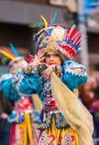 Badajoz, Spanien - 24. Februar 2017: Kinder, die an der Kind-` s Karnevalsparade in Badajoz teilnehmen Lizenzfreies Stockfoto