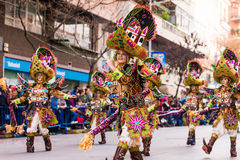 Badajoz, Spanien - 24. Februar 2017: Kinder, die an der Kind-` s Karnevalsparade in Badajoz teilnehmen Lizenzfreie Stockfotografie