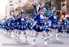 Badajoz, Spanien - 24. Februar 2017: Kinder, die an der Kind-` s Karnevalsparade in Badajoz teilnehmen Stockbild