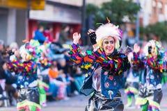 Badajoz, Spanien, Sonntag februar 26 2017 Teilnehmer an colorf lizenzfreies stockbild