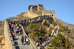 BADALING, CHINA - MARCH 13, 2016: Great Wall of China. Tourists. Visiting the Great Wall of China near Beijing. Great Wall, one of the greatest wonders of the stock image