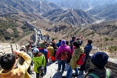 BADALING, CHINA - MARCH 13, 2016: Great Wall of China. Tourists. Visiting the Great Wall of China near Beijing. Great Wall, one of the greatest wonders of the stock photo