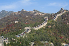 Badaling Great Wall in autumn. Crowd tourists climb Badaling Great Wall in autumn Stock Photography