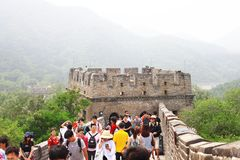 Badaling Great Wall. Is the site of the most visited section of the Great Wall of China, approximately 80 kilometres 50 mi northwest of urban Beijing city in stock photography