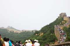 Badaling Great Wall. Is the site of the most visited section of the Great Wall of China, approximately 80 kilometres 50 mi northwest of urban Beijing city in stock image