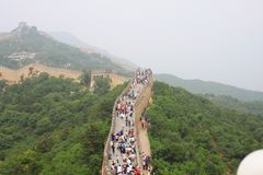 Badaling Great Wall. Is the site of the most visited section of the Great Wall of China, approximately 80 kilometres 50 mi northwest of urban Beijing city in stock photo