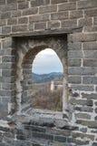Badaling sida av den stora väggen av Kina arkivbilder