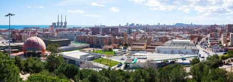 Badalona i Barcelona od wysokiego punktu Obrazy Royalty Free
