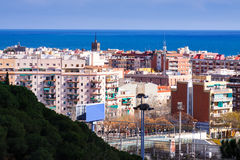 Badalona  and Mediterranean Sea from high point Royalty Free Stock Photos