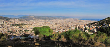 Badalona, Spain. Seen from the mountains south of the city Royalty Free Stock Images