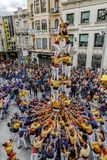 Castell or Human Tower, typical tradition in Catalonia Royalty Free Stock Image