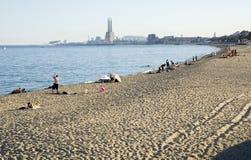 Badalona strand, Spanien arkivfoto