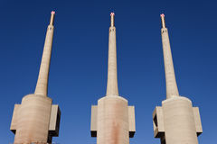 Badalona thermal power station chimneys Royalty Free Stock Images
