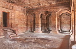 Badami Cave temples inside view, Karnataka, India Royalty Free Stock Photos