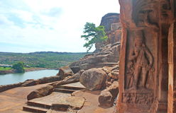 Badami grottatempel, Karnataka, Indien Arkivbild
