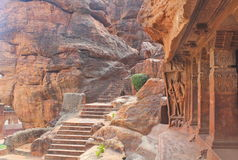 Badami grottor, Karnataka, Indien Royaltyfri Foto