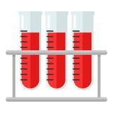 Badanie Krwi buteleczek Płaska ikona Odizolowywająca na bielu Obraz Royalty Free
