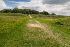 Badbury suona la fortificazione della collina di età del ferro Fotografia Stock Libera da Diritti