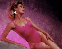 baddräktkvinna royaltyfri fotografi