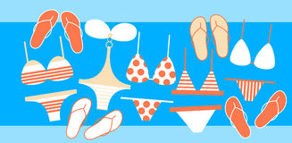 Baddräktsamling Flip Flops Set Summer Vacation royaltyfri illustrationer