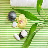 Badekur mit Steinen, Orchideenblume und grünem Bambus Lizenzfreies Stockbild