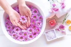 Badekur und Produkt für weibliche Füße und Manikürenagelbadekurort mit rosa Blume für entspannen sich und gesunde Sorgfalt stockbilder