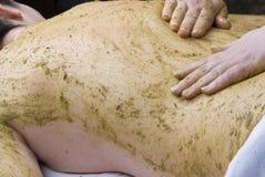 Badekurort, Ayurveda Massage mit Kräutern Stockfoto