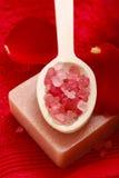 Badekurort eingestellt: duftende Kerze, Seesalz, Flüssigseife und romantisches Rot Stockfotos