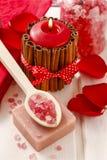 Badekurort eingestellt: duftende Kerze, Seesalz, Flüssigseife und romantisches Rot Stockbild