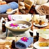 Badekurort-Einstellungen und Gegenstände in einer Collage Stockfotografie
