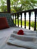 Badekurort-Entspannung-Bett Stockbilder