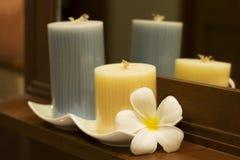 Badekurort-Kerze mit Plumeria Lizenzfreies Stockbild