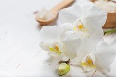 BADEKURORT-Konzept mit Tuch und Orchidee Lizenzfreie Stockfotos