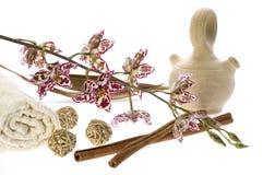 Badekurort. natürliche Seifen und Orchidee Lizenzfreie Stockfotografie