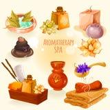 Badekurort- und Aromatherapieillustrationsikone stellte in eine Karikaturart ein lizenzfreie stockfotografie