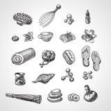 BADEKURORT- und Massagevektorzubehör eingestellt Hand gezeichneter Wellnessikonensatz, Skizzenart Lizenzfreie Stockbilder