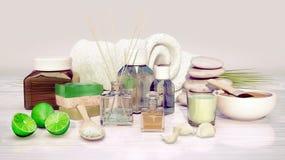 Badekurort und Wellnesseinstellung mit natürlicher Seife, Kerze und Tuch an Lizenzfreie Stockfotos