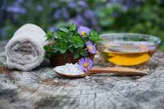 Badekurort und Wellnesseinstellung mit Seesalz, Ölwesentliches, Blumen und Lizenzfreie Stockfotos