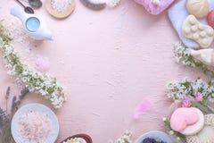 Badekurort Verschiedene Kosmetik für Sorgfalt und Schönheit Rosa Hintergrund und Blumen Platz für Text Feld Lizenzfreie Stockfotos
