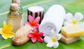 Badekurort, Wellnesseinstellung mit Blumen auf einem Palmblatt Lizenzfreie Stockfotos