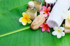Badekurort, Wellnesseinstellung mit Blumen auf einem Palmblatt Stockfotografie