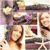 Badekurortcollage - schönes Frauengesicht, Blumen Lizenzfreies Stockbild