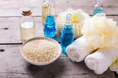Badekurorteinstellung in den blauen, gelben und weißen Farben Lizenzfreie Stockfotografie