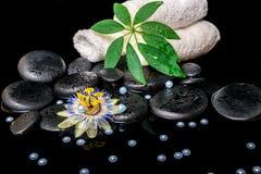 Badekurorteinstellung der Passionsblumenblume, grünes Blatt, Tücher, Zen basal Stockfotografie